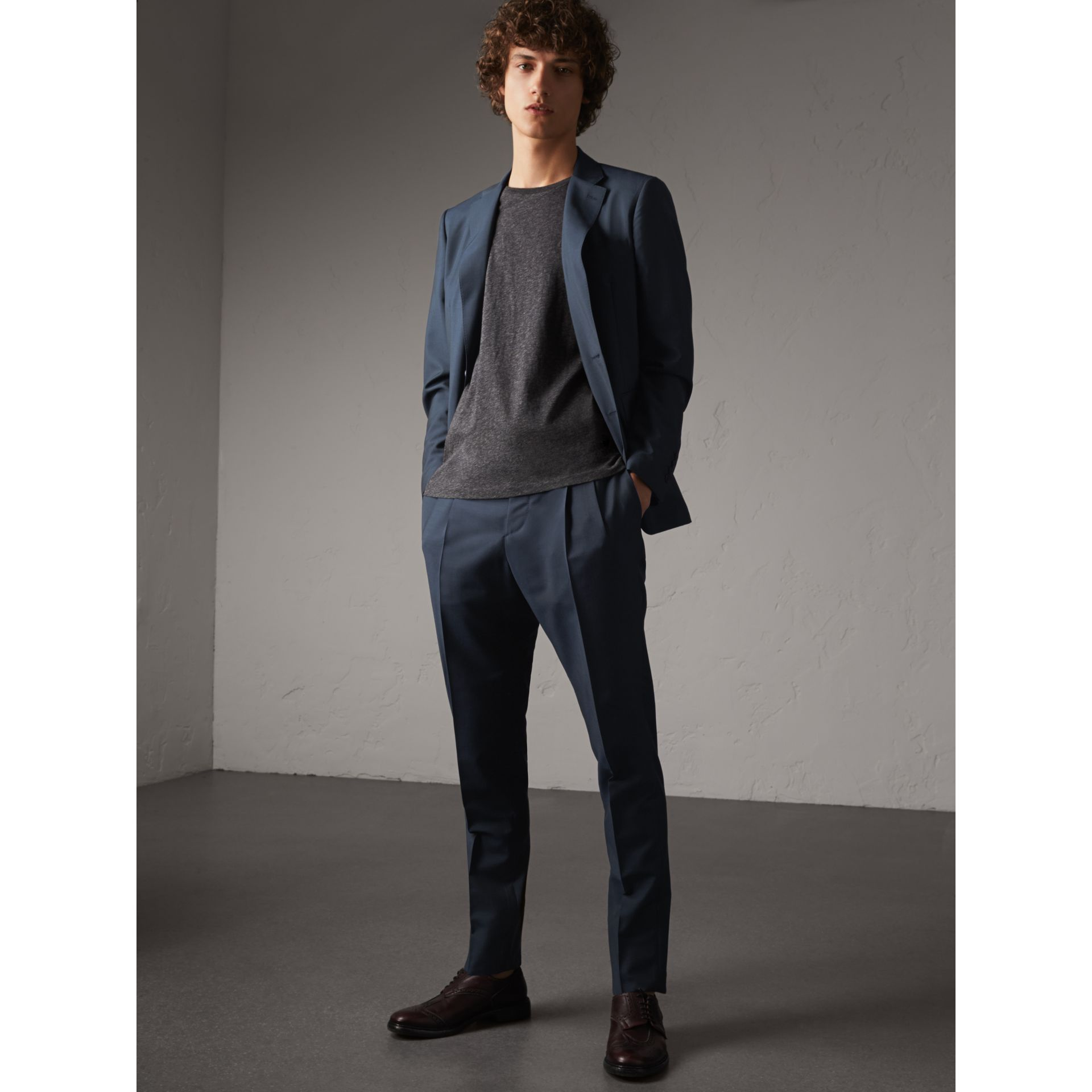 Slim Fit Wool Mohair Suit in Petrol Blue - gallery image 1