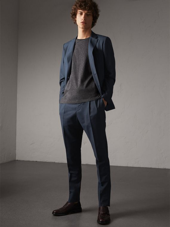 Slim Fit Wool Mohair Suit in Petrol Blue - Men | Burberry