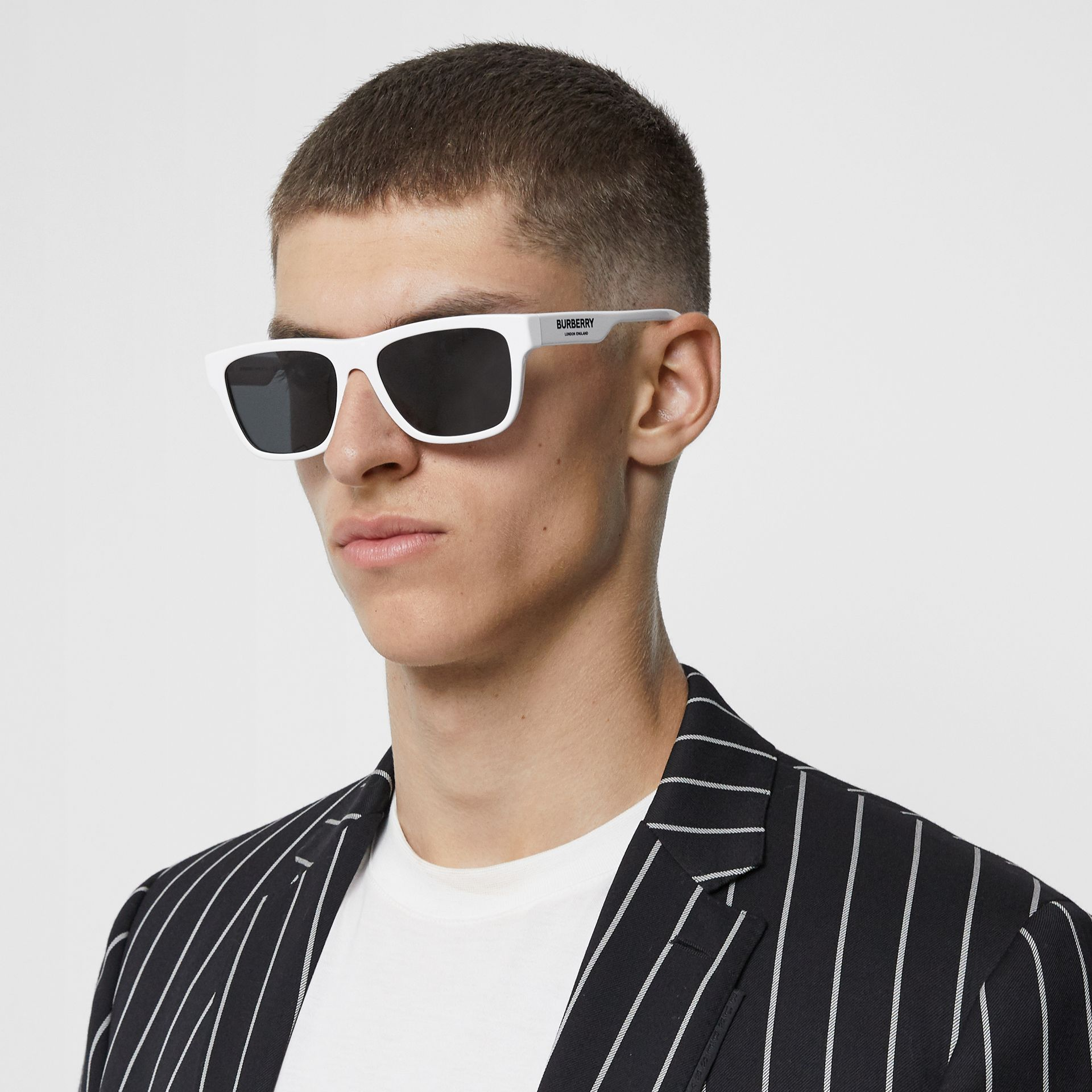 Square Frame Sunglasses in White - Men | Burberry United States - gallery image 2