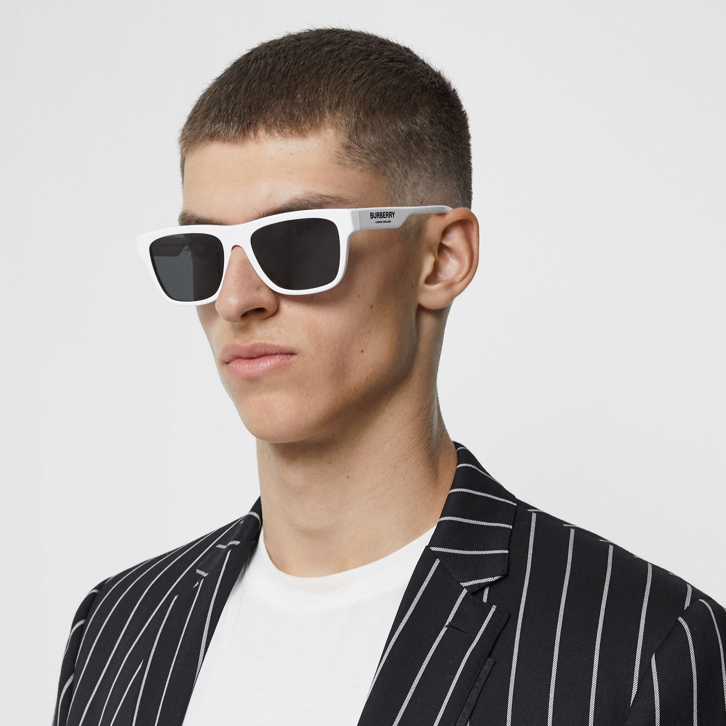 Square Frame Sunglasses in White - Men | Burberry - 3