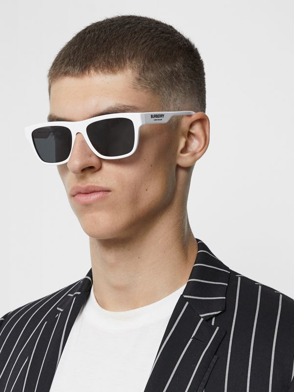 Square Frame Sunglasses in White - Men | Burberry United States - cell image 2