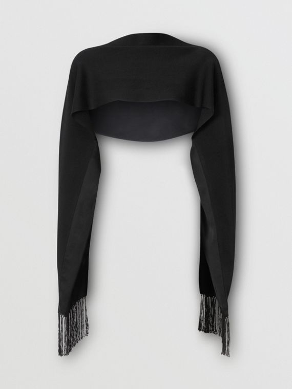 Silk Satin Capelet with Sleeves in Black