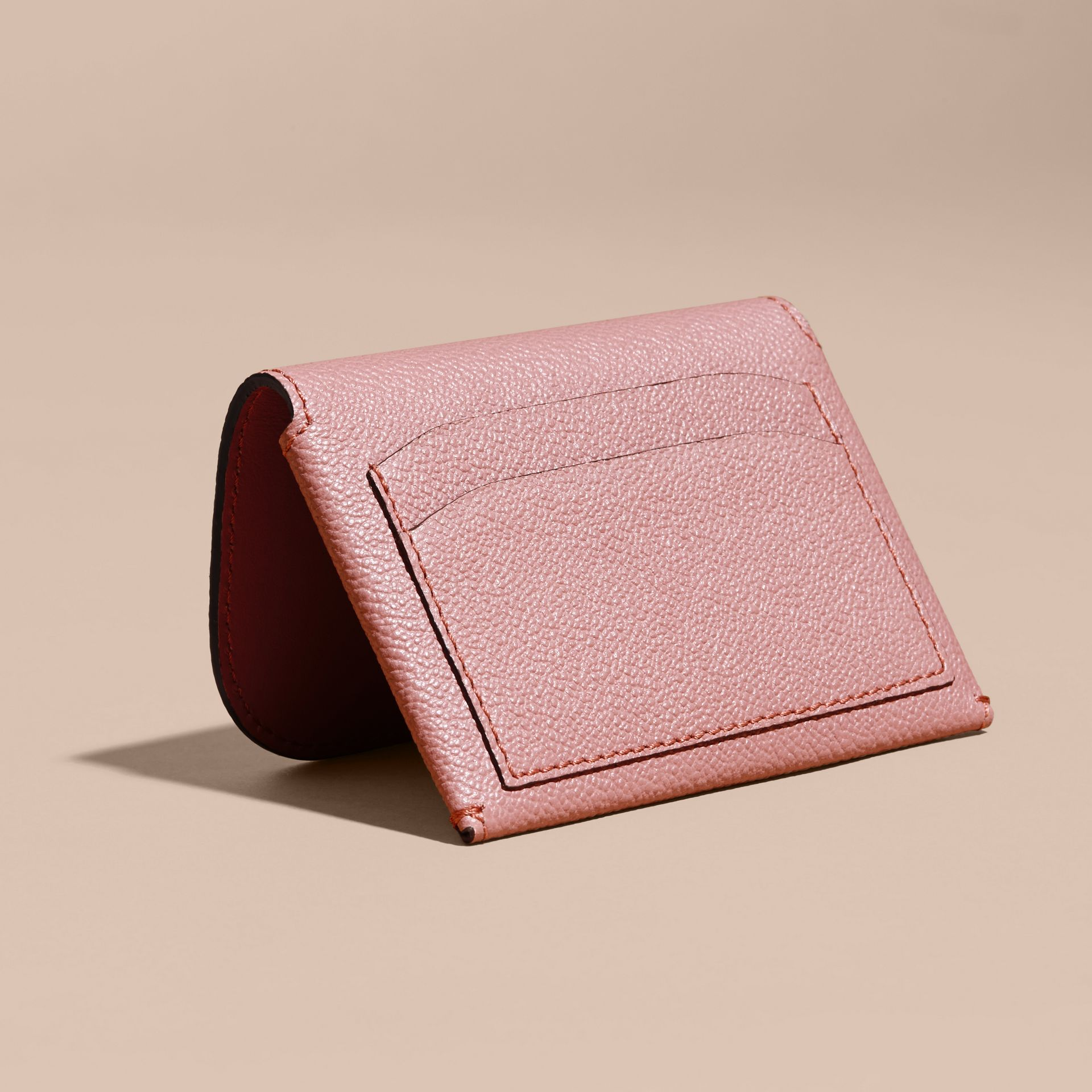 Leather Coin Case with Removable Card Compartment in Dusty Pink - Women | Burberry United Kingdom - gallery image 4
