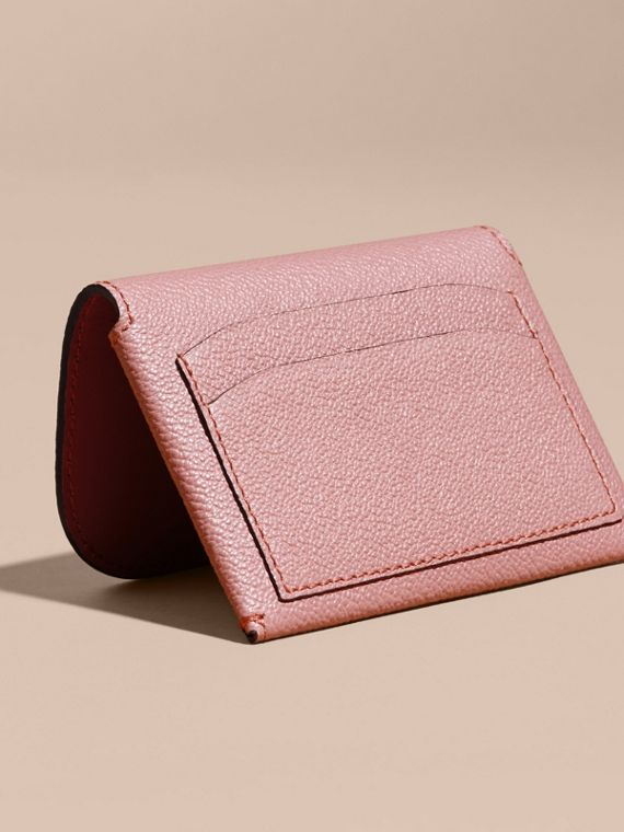 Leather Coin Case with Removable Card Compartment in Dusty Pink - Women | Burberry United Kingdom - cell image 3