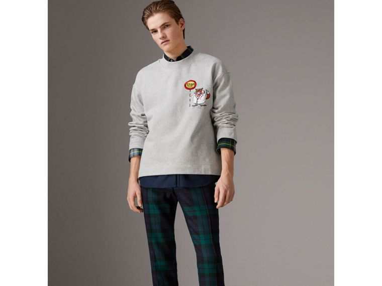 Sketch Print Cotton Jersey Sweatshirt in Light Grey Melange - Men | Burberry - cell image 4