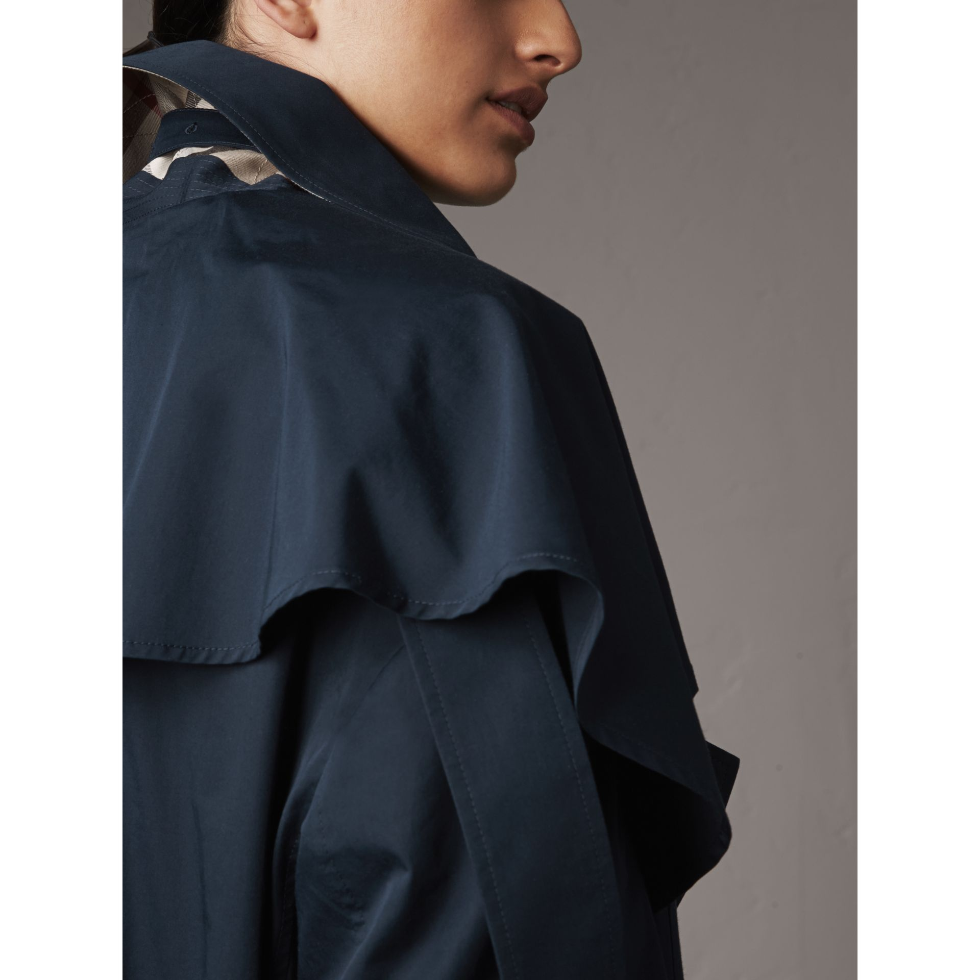 Cotton Asymmetric Trench Coat in Navy - Women | Burberry - gallery image 5