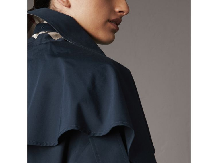 Cotton Asymmetric Trench Coat in Navy - Women | Burberry - cell image 4