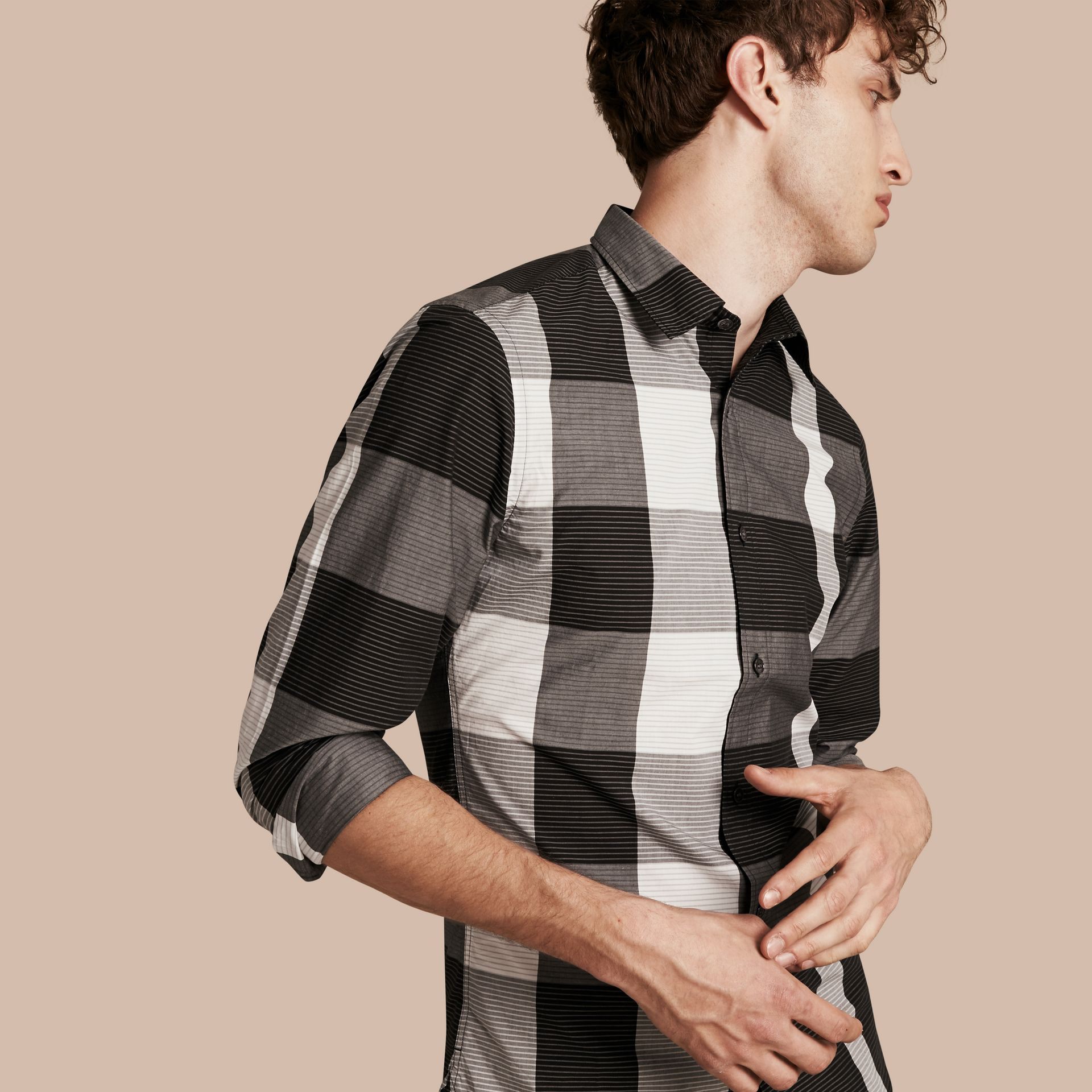 Black Graphic Check Cotton Shirt Black - gallery image 1