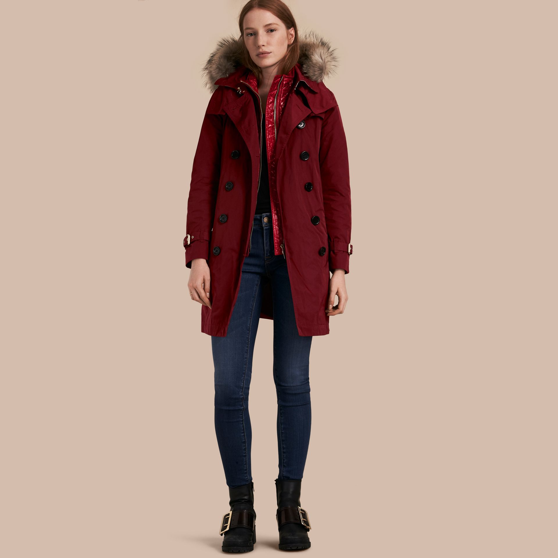 Garnet Raccoon Fur Trim Hood Trench Coat with Gilet - gallery image 1