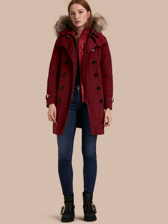 Fur-trimmed Hood Trench Coat with Detachable Gilet Garnet