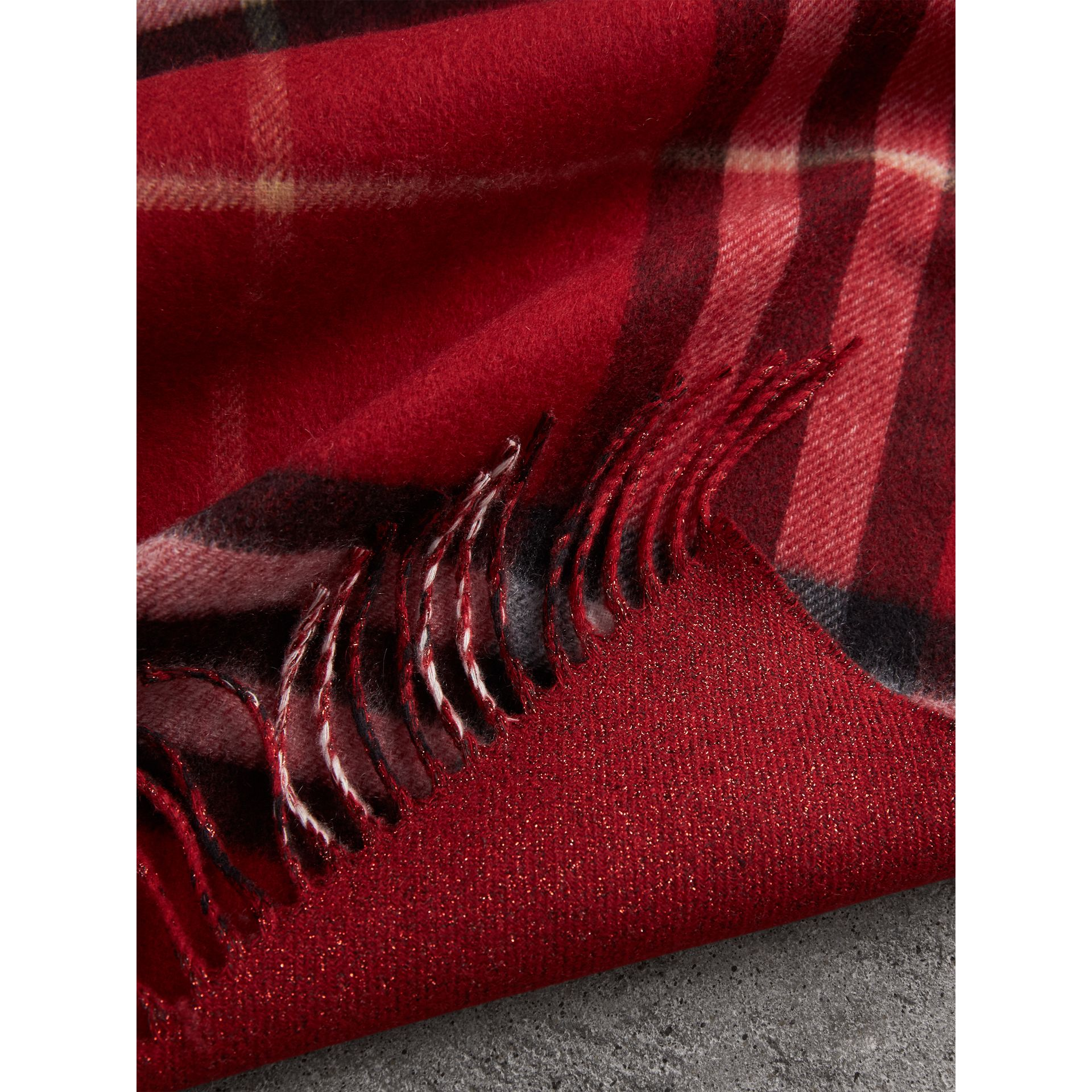 Reversible Metallic Check Cashmere Scarf in Parade Red | Burberry - gallery image 5