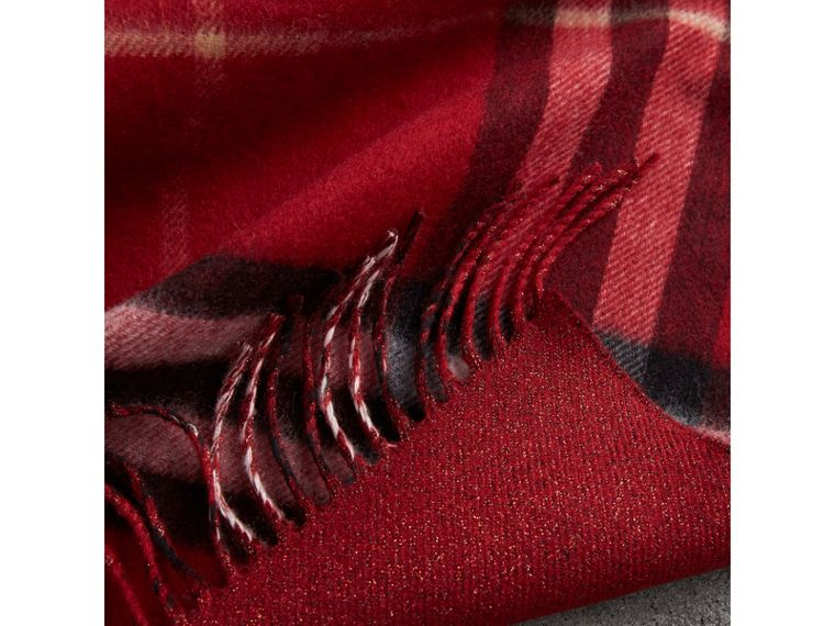 Reversible Metallic Check Cashmere Scarf in Parade Red | Burberry - cell image 4