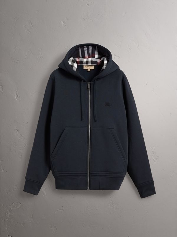 Check Detail Jersey Hooded Top in Navy - Men | Burberry - cell image 3