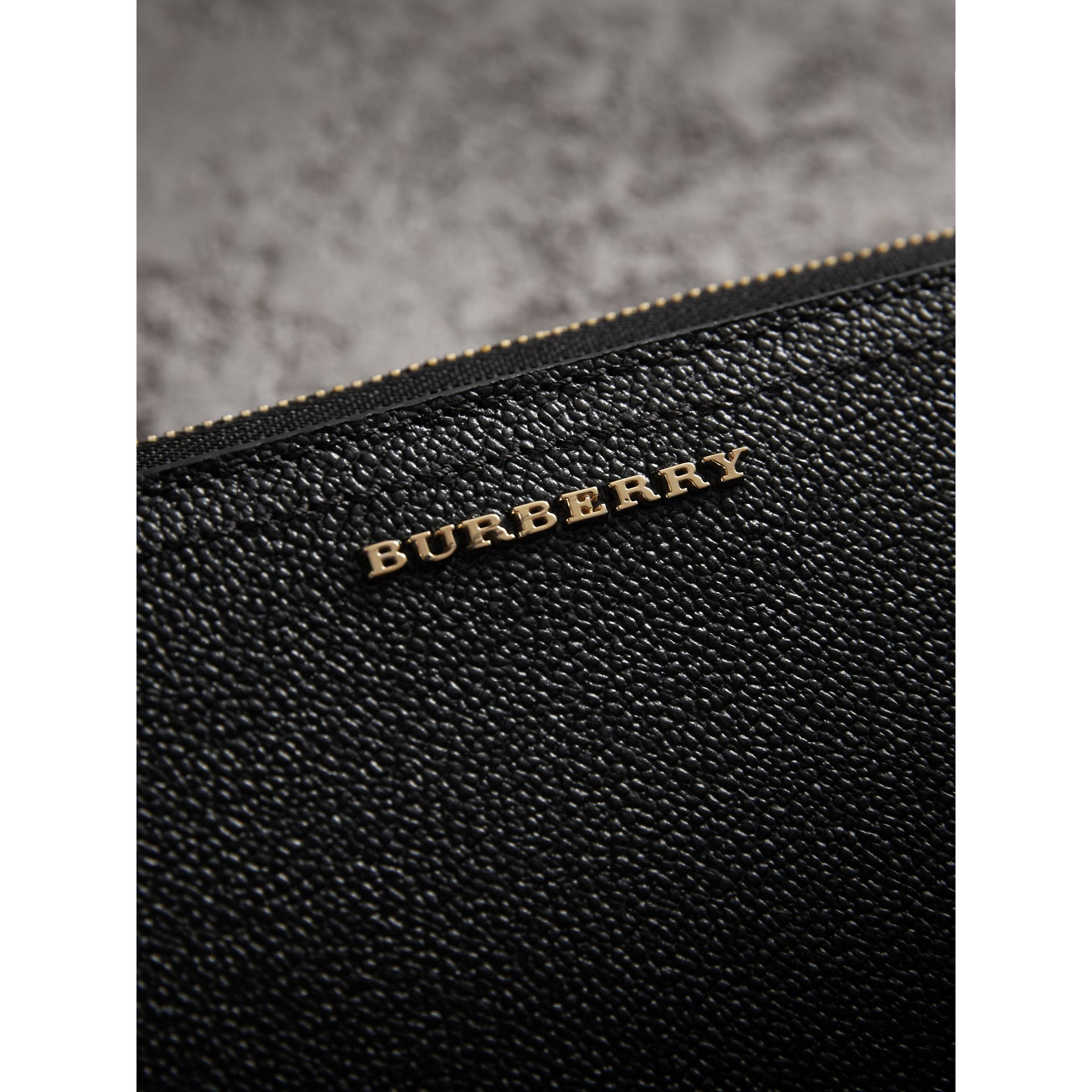 Grainy Leather Ziparound Wallet in Black - Women | Burberry - gallery image 1