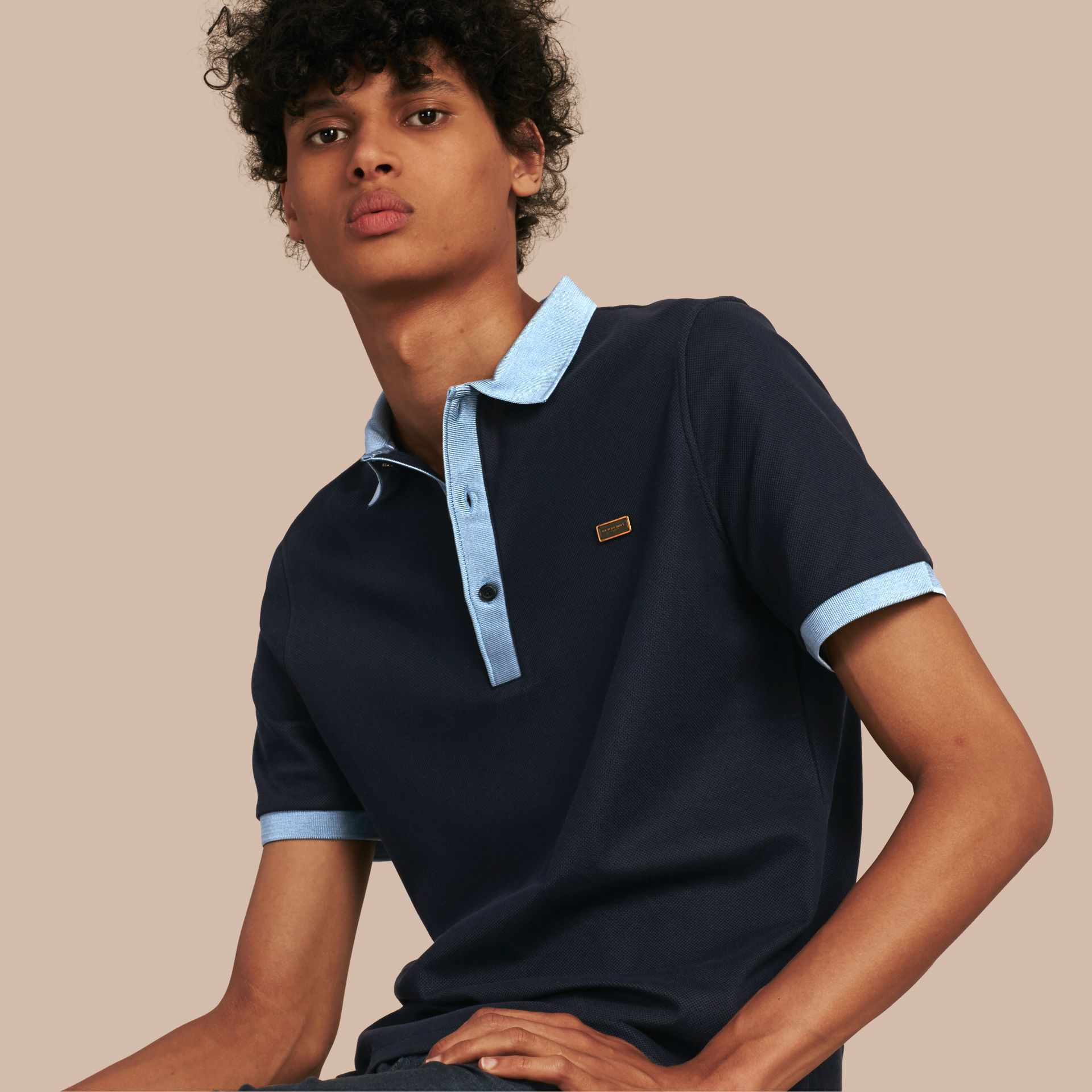 Navy/pale blue Mercerised Cotton Polo Shirt - gallery image 1