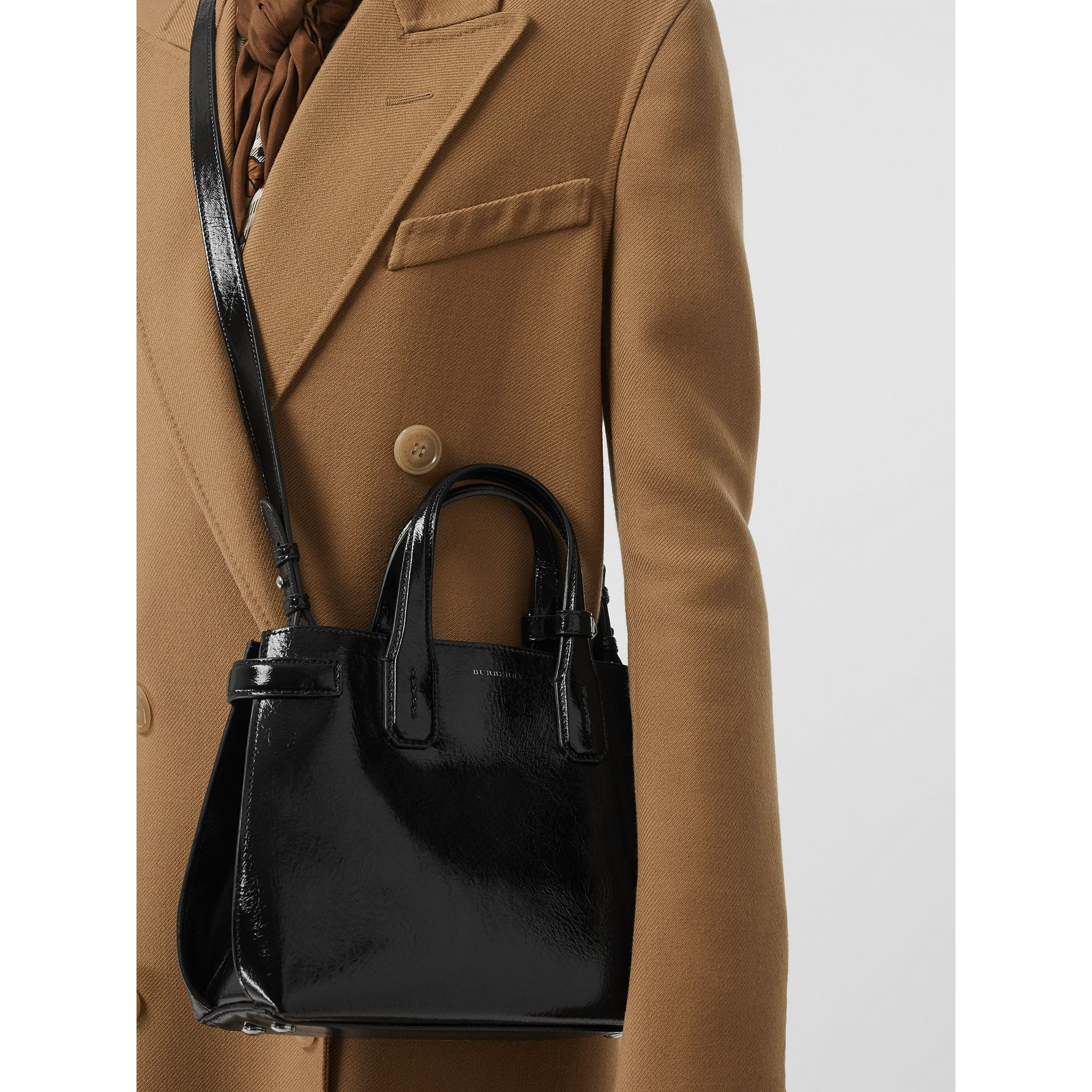 The Small Soft Leather Banner in Black - Women | Burberry - gallery image 3
