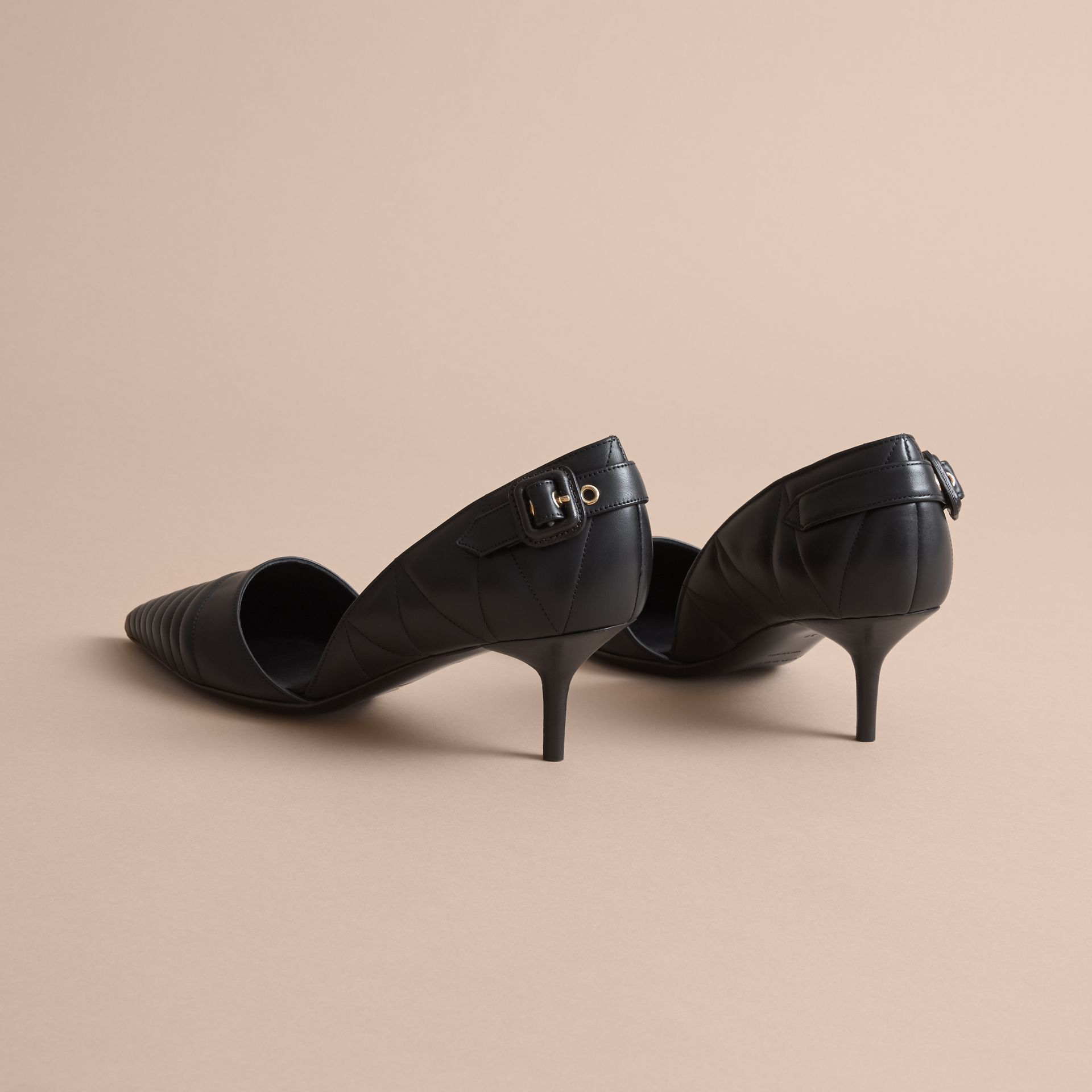 Quilted Leather D'Orsay Pumps in Black - Women | Burberry - gallery image 4