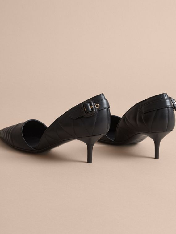 Quilted Leather D'Orsay Pumps in Black - cell image 3