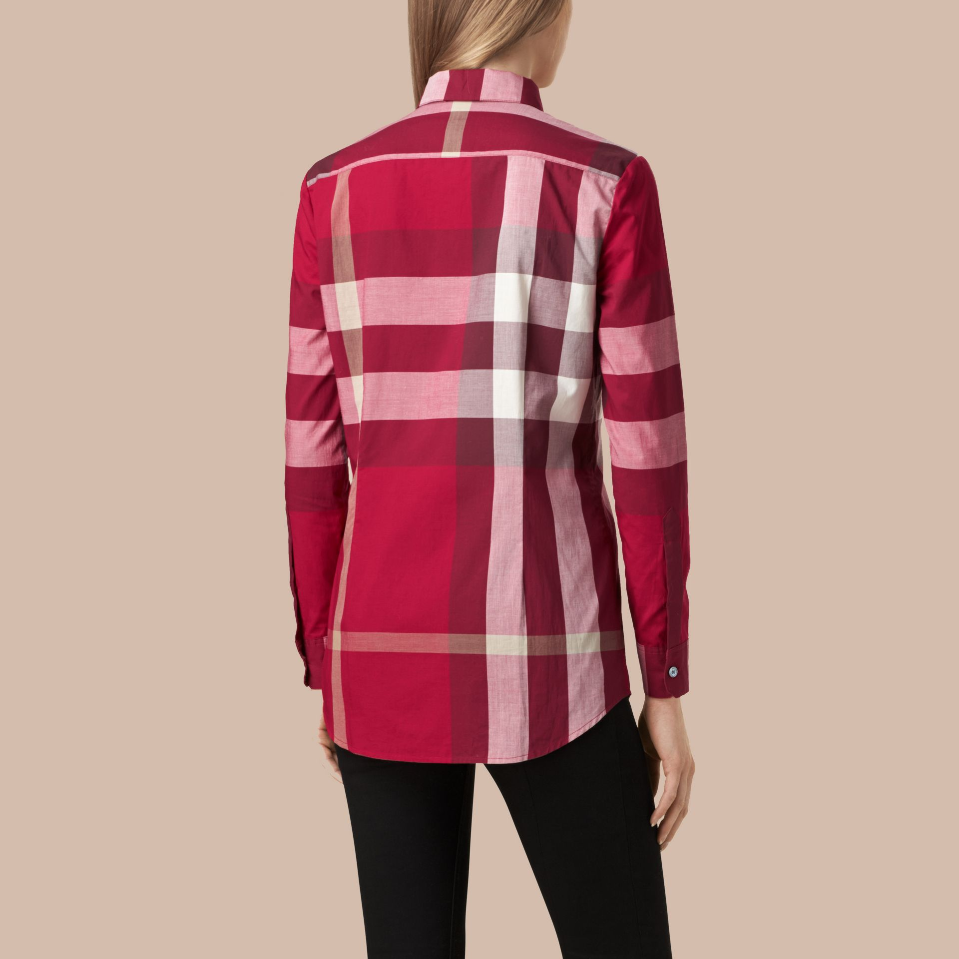 Check Cotton Shirt in Peony Rose - gallery image 3