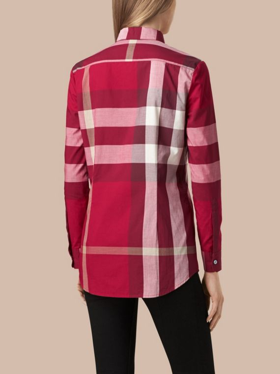 Check Cotton Shirt in Peony Rose - cell image 2