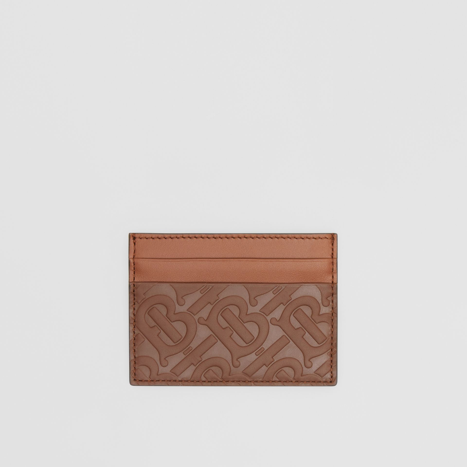 Monogram Leather Card Case in Dark Tan - Men | Burberry United Kingdom - gallery image 0