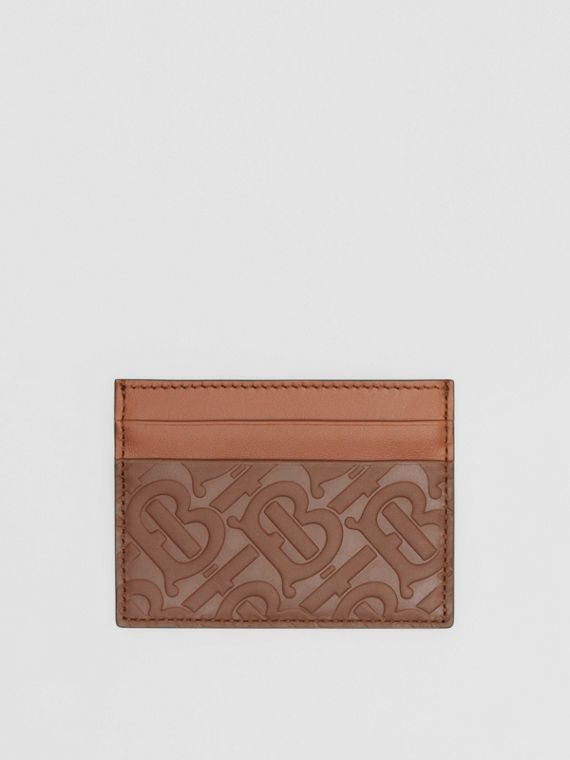 Monogram Leather Card Case in Dark Tan