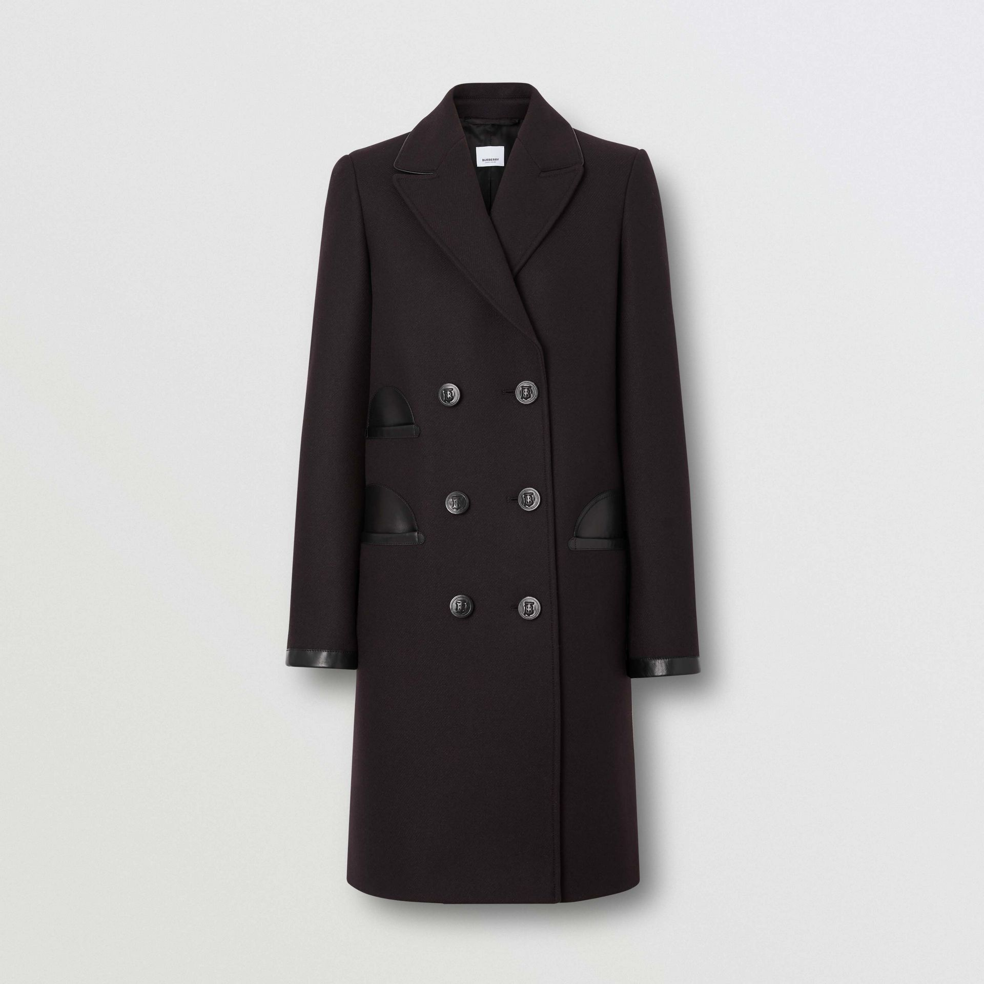 Lambskin Trim Wool Cashmere Blend Tailored Coat in Black Maroon - Women | Burberry - gallery image 2