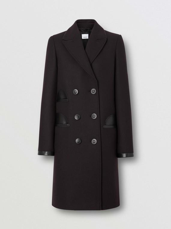 Manteau ajusté en laine et cachemire mélangés avec cuir d'agneau (Marron Noir)