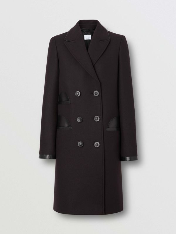 Lambskin Trim Wool Cashmere Blend Tailored Coat in Black Maroon - Women | Burberry - cell image 2