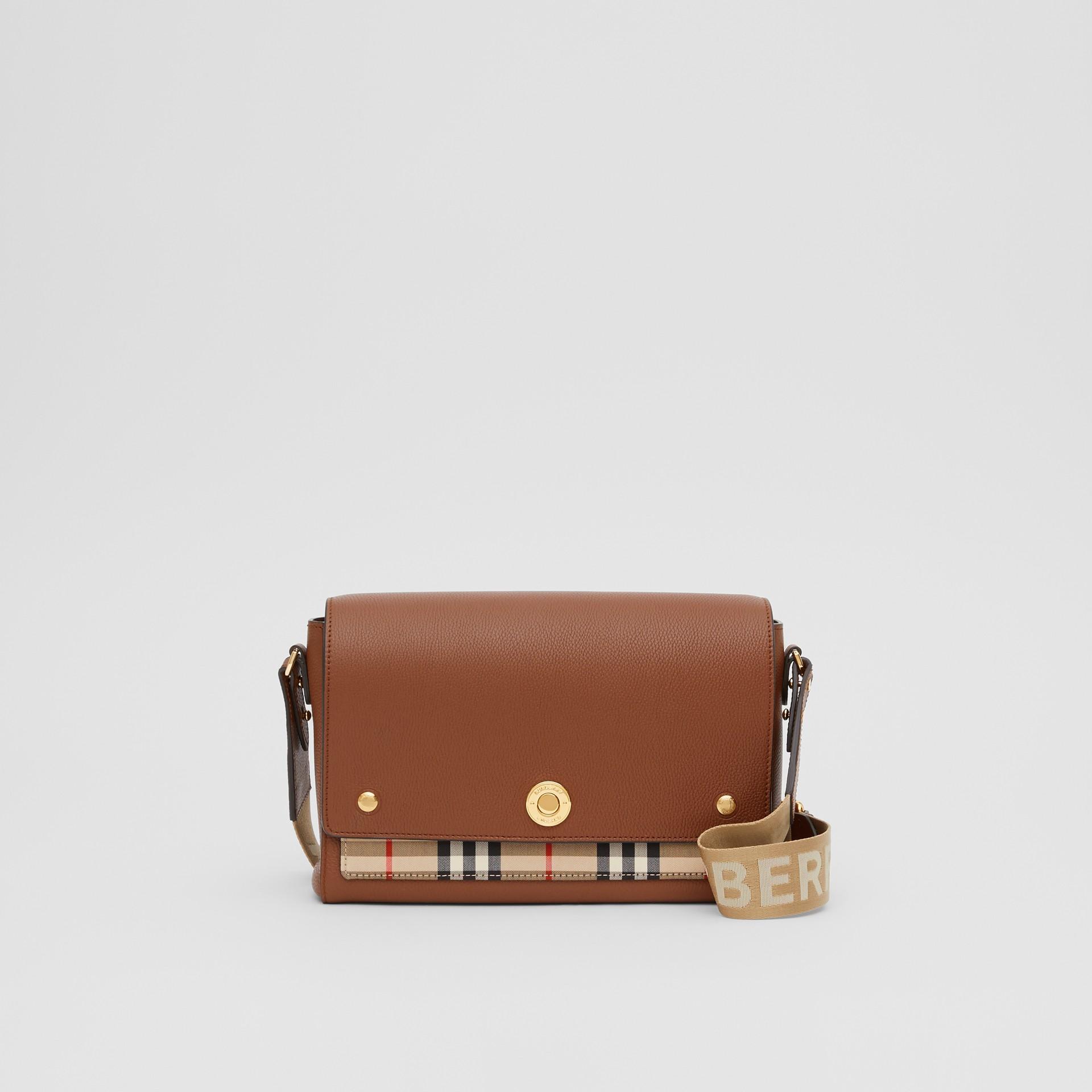 Sac à bandoulière Note en cuir Vintage check (Hâle) - Femme | Burberry Canada - photo de la galerie 0