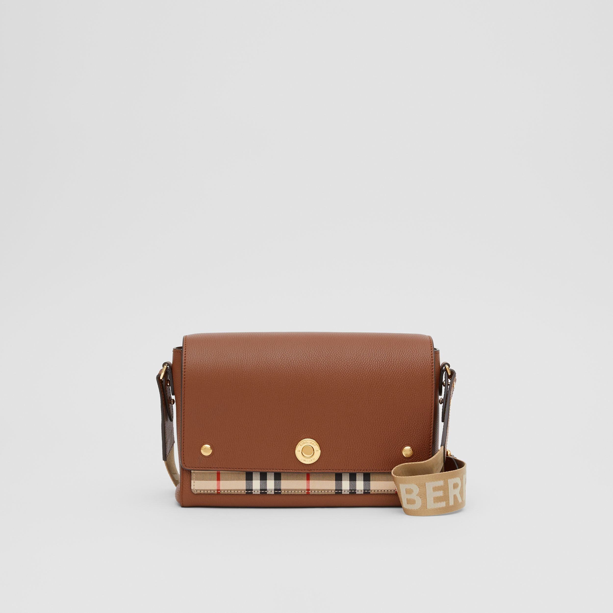 Leather and Vintage Check Note Crossbody Bag in Tan | Burberry - 1