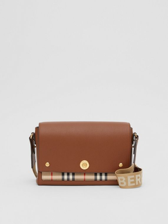 Leather and Vintage Check Note Crossbody Bag in Tan