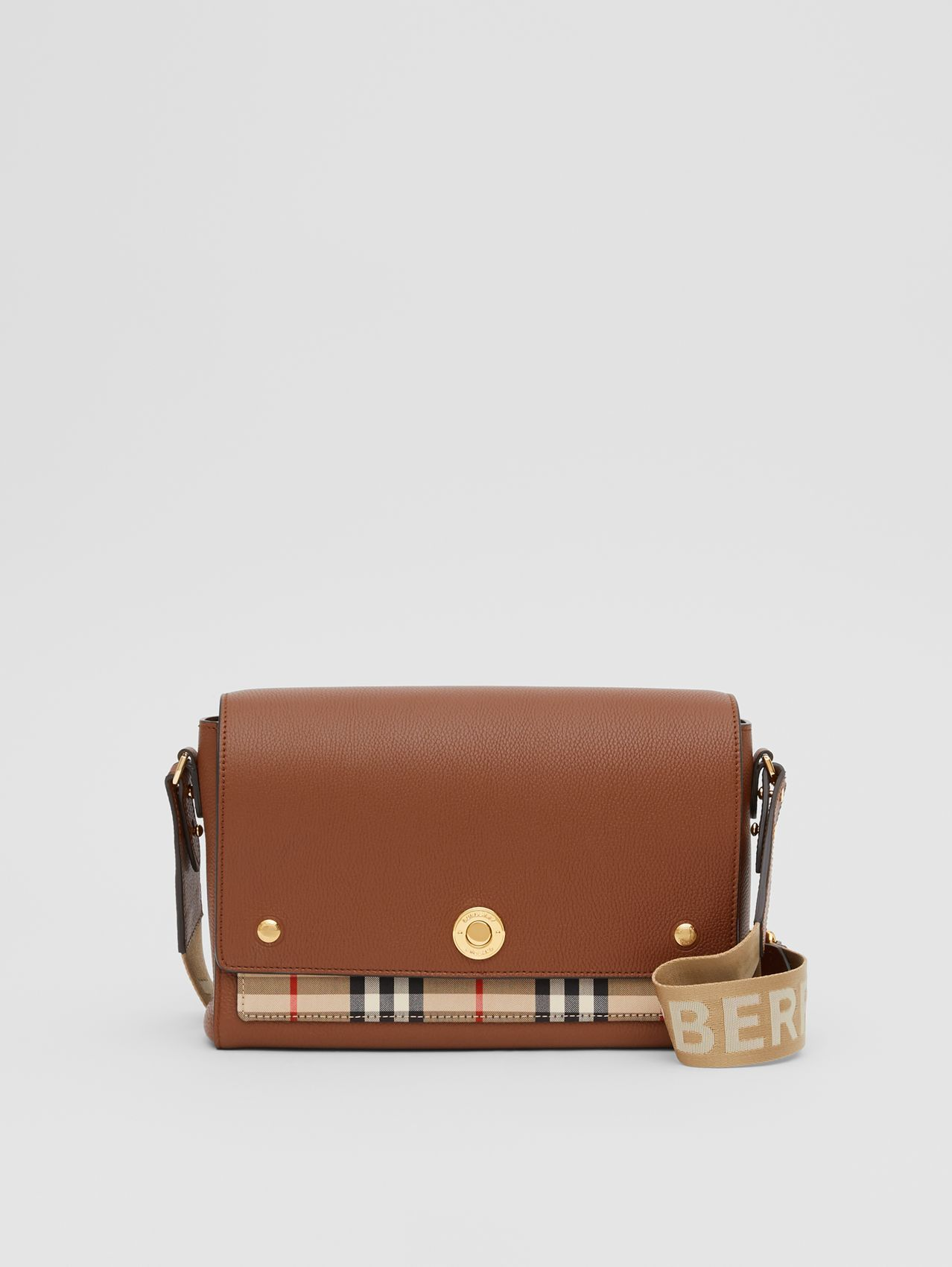 Leather and Vintage Check Note Crossbody Bag (Tan)