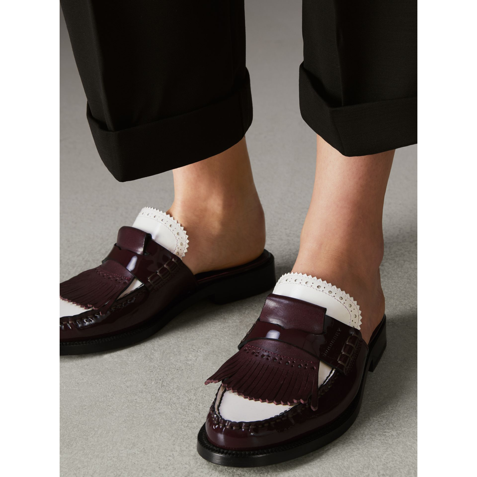 Tri-tone Kiltie Fringe Leather Mules in Burgundy Red - Women | Burberry Canada - gallery image 2