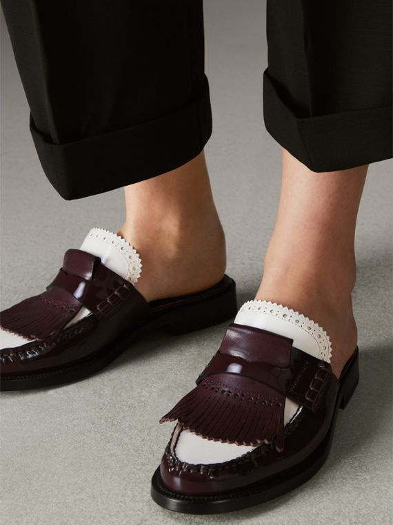 Tri-tone Kiltie Fringe Leather Mules in Burgundy Red - Women | Burberry - cell image 2