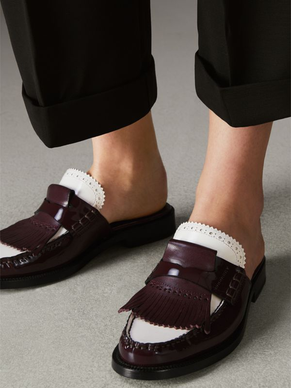 Tri-tone Kiltie Fringe Leather Mules in Burgundy Red - Women | Burberry Singapore - cell image 2