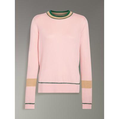 Sweater Silk Stripe Burberry 4 Detail Cashmere Longline 0TUA774qW