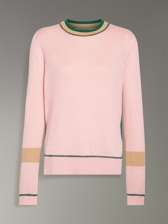Stripe Detail Silk Cashmere Sweater in Pale Apricot - Women | Burberry - cell image 3