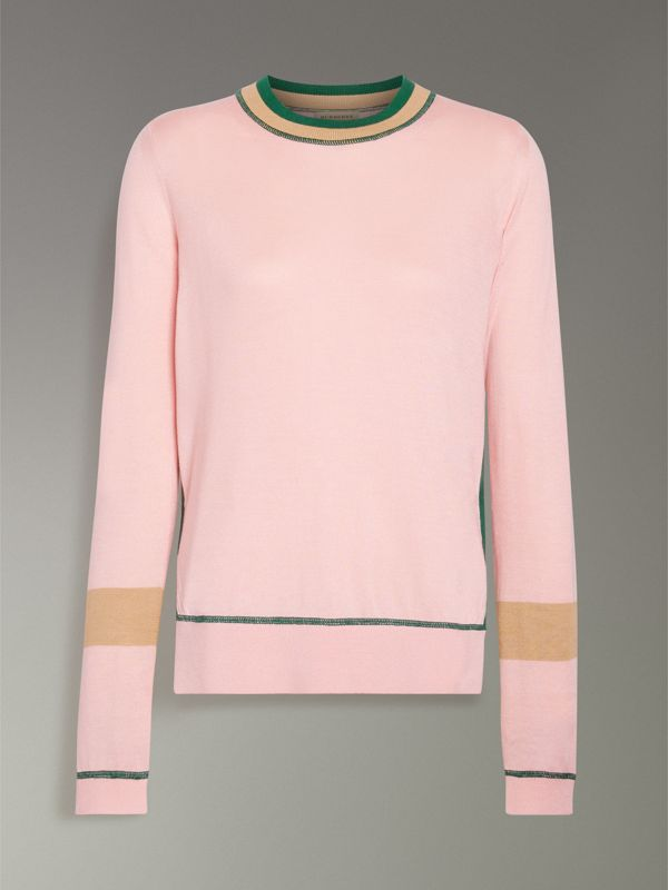 Stripe Detail Silk Cashmere Sweater in Pale Apricot - Women | Burberry Australia - cell image 3