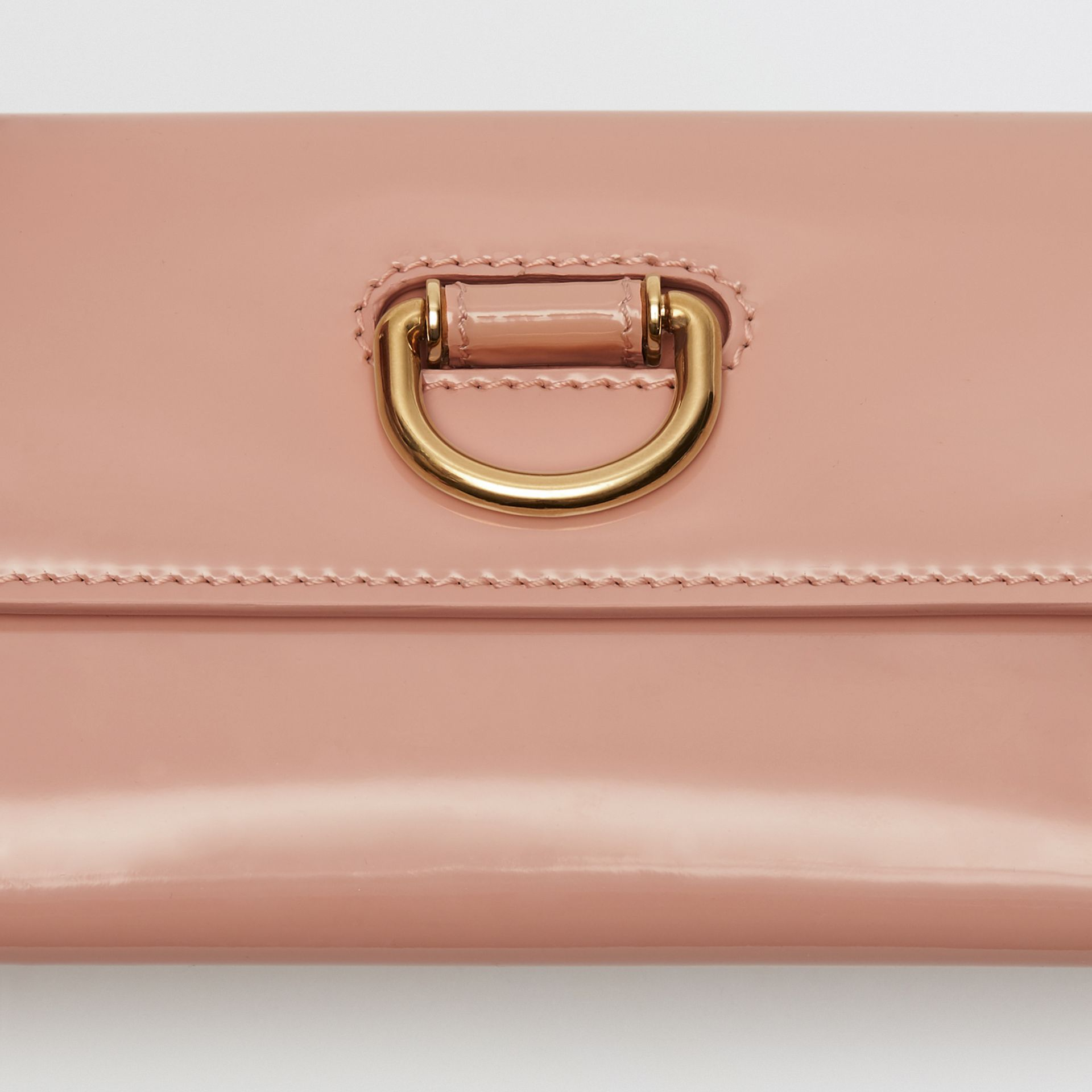 D-ring Patent Leather Continental Wallet in Pale Fawn Pink - Women | Burberry - gallery image 1