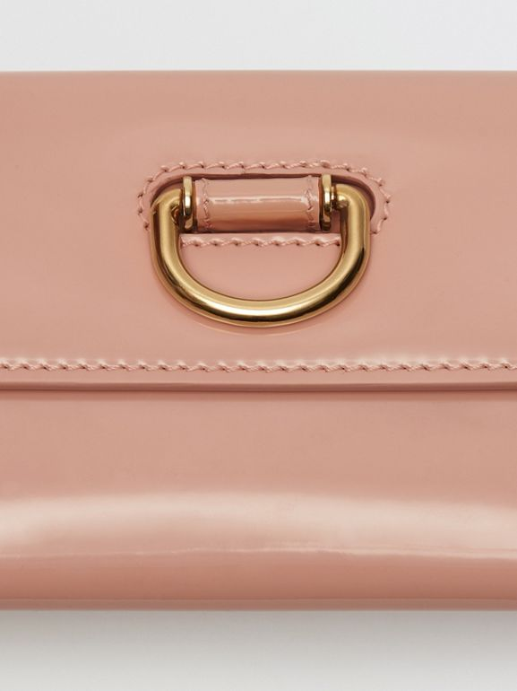 D-ring Patent Leather Continental Wallet in Pale Fawn Pink - Women | Burberry Australia - cell image 1