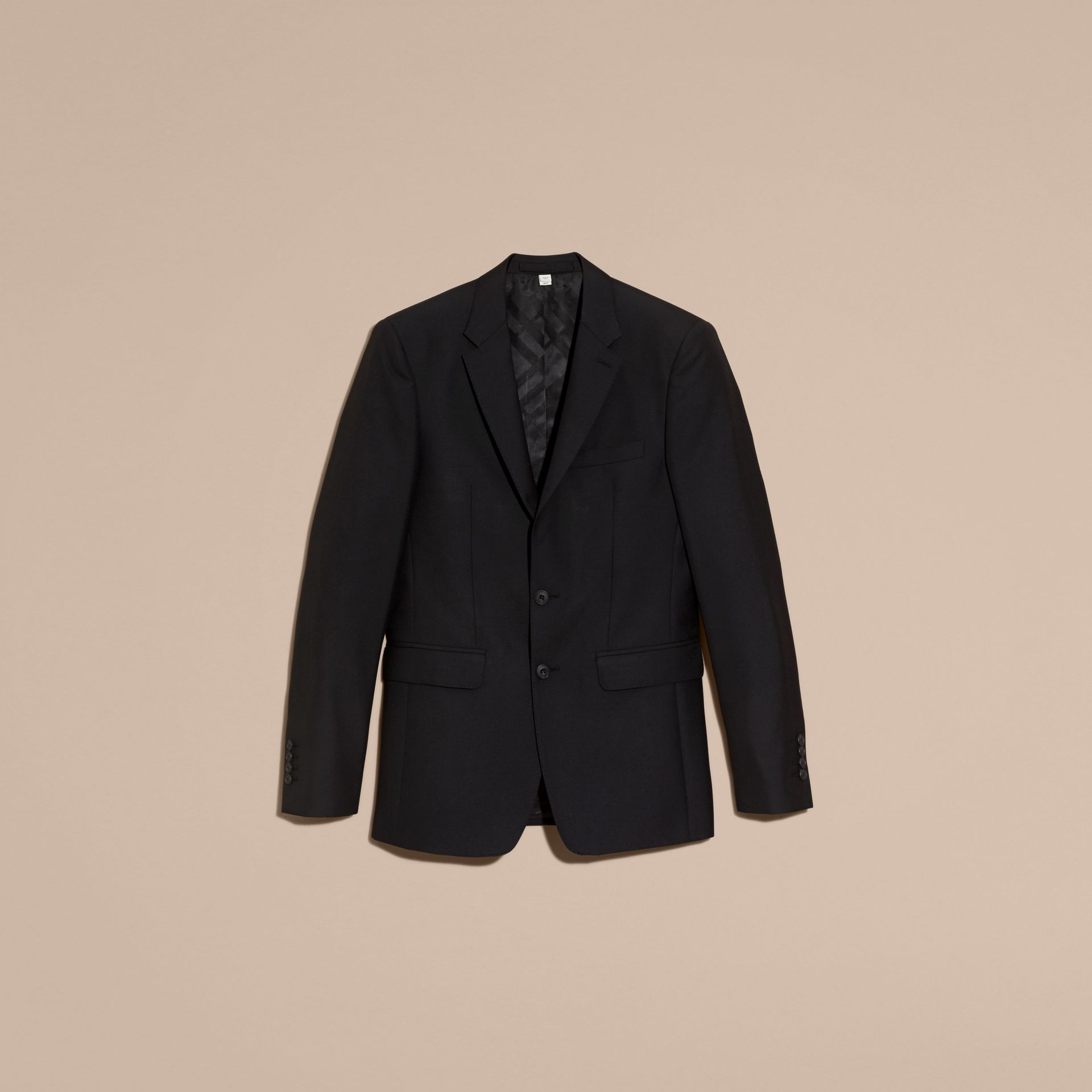 Slim Fit Wool Part-canvas Suit in Black - Men | Burberry Canada - gallery image 4