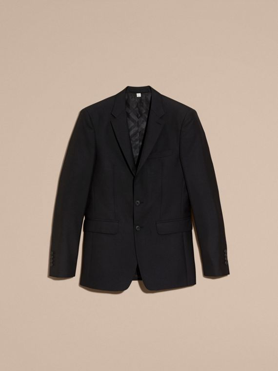 Slim Fit Wool Part-canvas Suit in Black - Men | Burberry Canada - cell image 3
