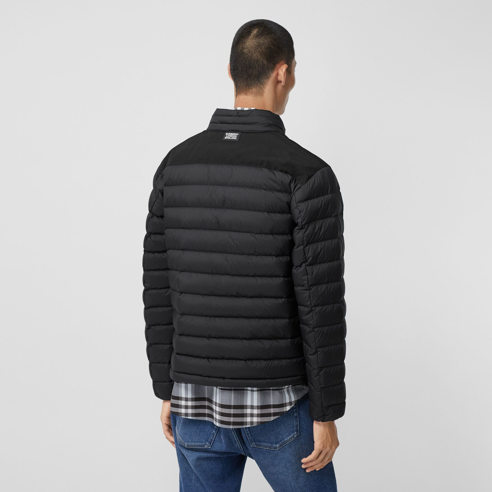 Logo Graphic Lightweight Puffer Jacket in Black - Men | Burberry - gallery image 2