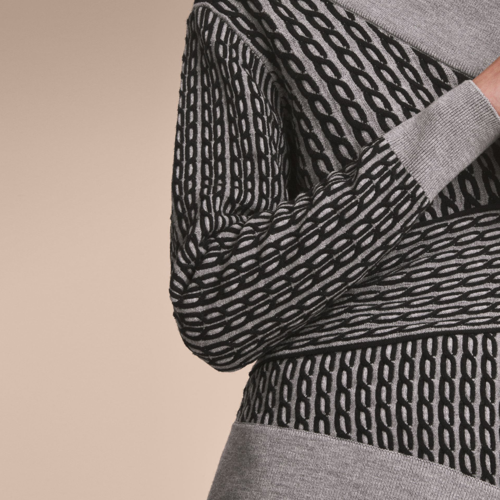 Cable Knit Wool Blend One-shoulder Sweater in Grey Melange/black - Women | Burberry - gallery image 5