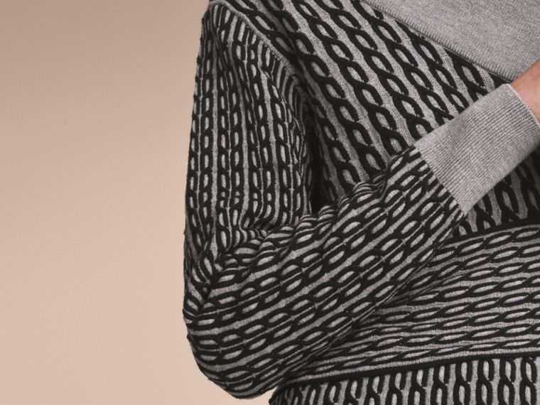 Cable Knit Wool Blend One-shoulder Sweater in Grey Melange/black - Women | Burberry - cell image 4