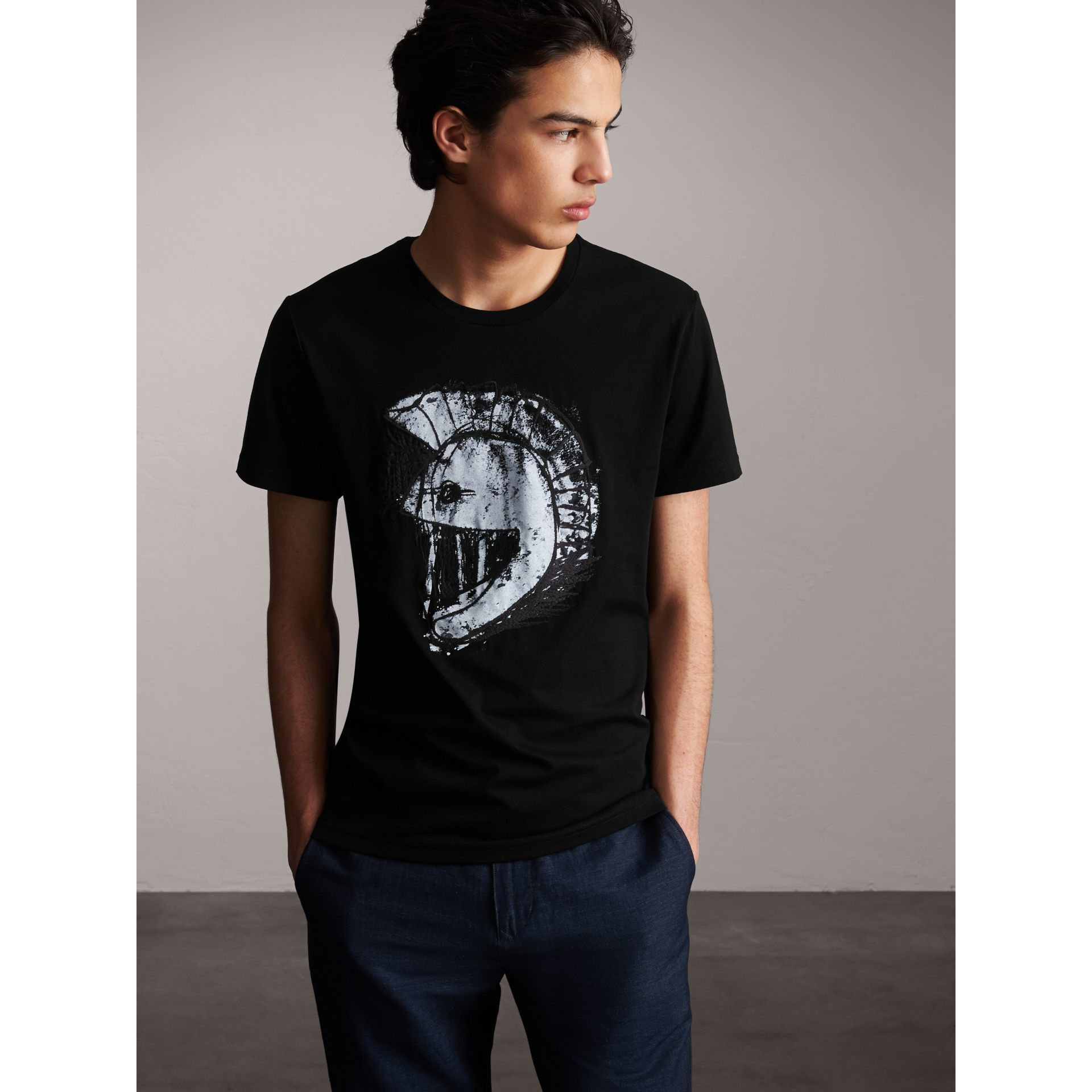 Pallas Helmet Print Cotton T-shirt - Men | Burberry - gallery image 6