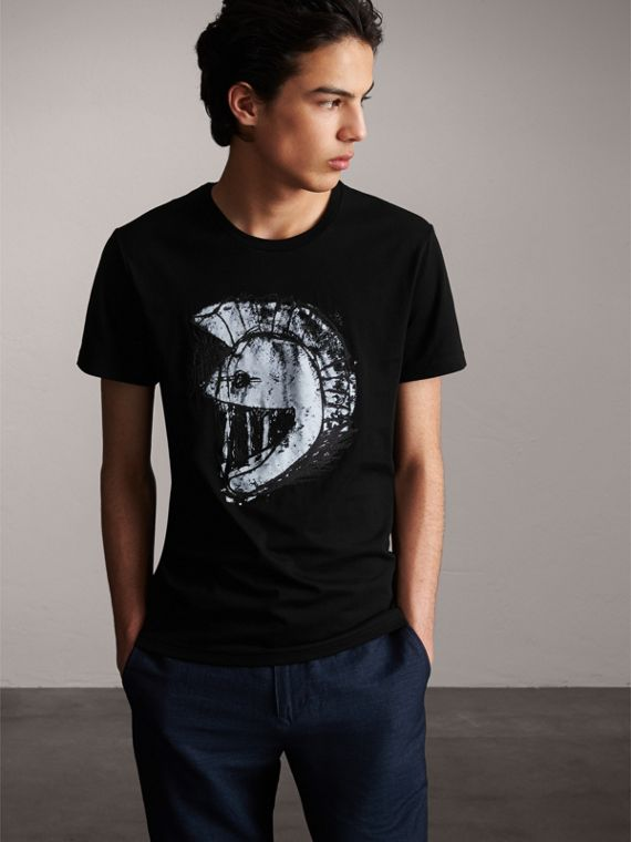 Pallas Helmet Print Cotton T-shirt - Men | Burberry Australia