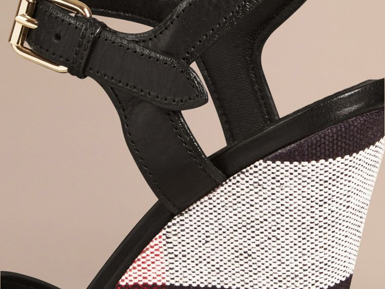Black Canvas Check Leather Platform Wedges Black - cell image 4