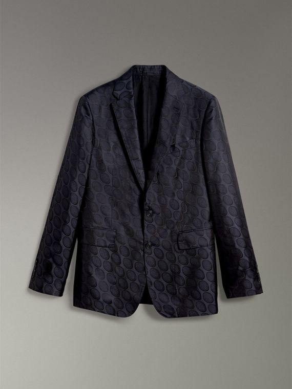 Soho Fit Spot Silk Evening Jacket in Midnight Blue - Men | Burberry - cell image 3